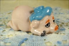Funny Little Pink Porcelain Pig with Blue Ice by TinyandBeautiful
