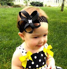 Black Polka Dot Flower Headband by WistfulWhimsyDesigns on Etsy, $5.00
