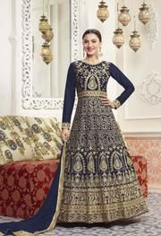 Discover the latest in stunning bollywood replica designer suits and salwar kameez online. Buy this Gauhar Khan embroidered, lace and resham work art silk floor length anarkali suit. Wedding Salwar Suits, Silk Anarkali Suits, Indian Salwar Kameez, Salwar Kameez Online, Anarkali Dress, Lehenga, Long Anarkali, Churidar, Indian Sarees