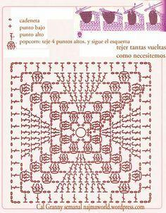 grosella granny square popcorn crochet