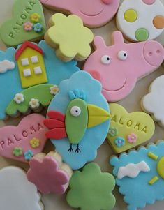 Pasta Ballina, Fondant Rainbow, Pig Cookies, George Pig, Eid, 2nd Birthday, Cookie Recipes, Easter, Party