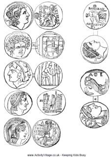 Ancient Greek coins- These can be created with flat rocks and carved mud to make a simplified coin. These can be used to trade for something-food?