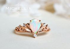 Vintage Pear Opal Engagement Ring, 14K 18K Solid Gold Ethiopian Fire Opal Teardrop Ring, Art Deco, Unique Victorian Pear Engagement Ring