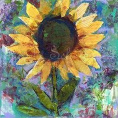 Sunflower ART ORIGINAL mixed media painting on by SchulmanArts, $126.00