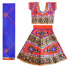 Embroidered Multicolor Ghagra, Choli with Sequin