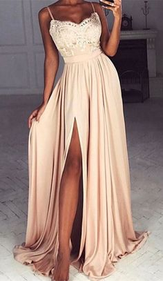 modest blush prom party dresses split, fashion formal evening gowns with appliques, #dresses #promdresses