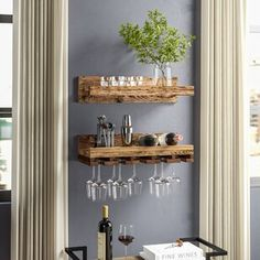 Rebrilliant Indurial Wet Bar 2 Piece 18 Bottle Wall Mounted Wine Bottle and Glass Rack Set Wine Glass Storage, Hanging Wine Glass Rack, Wine Rack Storage, Wine Glass Holder, Glass Shelves, Wine Rack Wall, Wine Wall Decor, Hanging Wine Glasses, Wine Glass Shelf