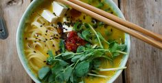 Butternut Squash Ramen Bowl With Rice Noodles, Tofu, and Fresh Pea Shoots