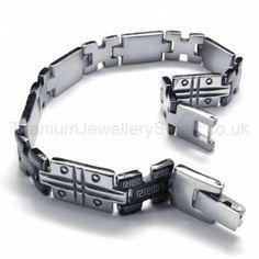 Great Wall Series Titanium Grooved Mens Bracelet 18628