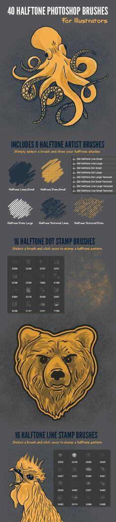 40 Halftone Illustration Brushes for Photoshop - Texture Brushes Illustrator Brushes obtain Paint Photoshop, Actions Photoshop, Photoshop Illustrator, Photoshop Brushes, Photoshop Texture, Photoshop Design, Design Jobs, Graphisches Design, Graphic Design Tips