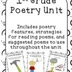 The first grade common core standard states only that 1st graders need to be able to read poetry.  Here is introductory material for teaching a short (2-3 weeks) poetry unit. It includes poetry features such as line breaks and white space and well as higher level skills like visualizing and connecting.