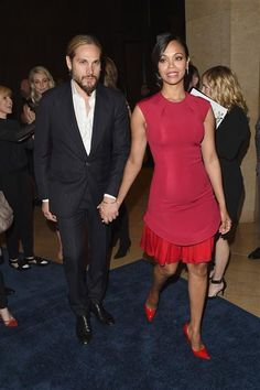 Artist Marco Perego and wife Zoe Saldana attend the 26th Annual GLAAD Media Awards at the Beverly Hilton Hotel in Beverly Hills, Calif., on March 21, 2015.