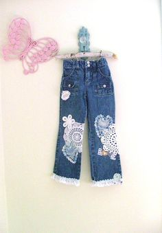 Shabby Chic Love Jeans Girls size 6 OOAK by upcyclemycloset, $30.00