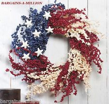 """Patriotic Stars Stripes 4th of July BERRY WREATH  Door Wall Hanging Decor 15"""""""