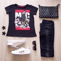 #burcurahim , adidas superstar & black denim