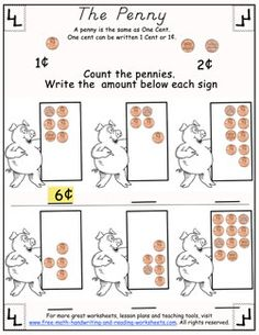 Simple worksheets covering money values, change, and more. Print out these free counting pennies worksheets to get started. Counting Money Worksheets, Money Activities, Reading Worksheets, Worksheets For Kids, Math Resources, Teaching Money, Student Teaching, Preschool Math, Kindergarten Math
