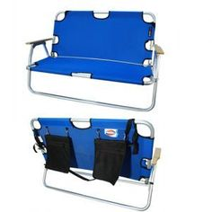 2 person folding sports couch for $89.99. Great for tail gating, fishing, campfires, Comes in Red, black and blue.