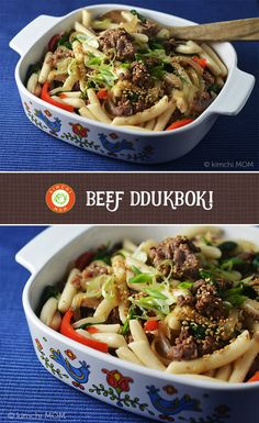 Beef Ddukboki (Non-Spicy Sautéed Korean Rice Cakes) for Rice Cake Recipes, Spicy Recipes, Asian Recipes, Beef Recipes, Healthy Recipes, Ethnic Recipes, Rice Cakes, Kimchi, Korean Rice Cake
