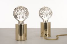 Crystal Bulb - Clear Crystal Bulb Table Lamp | The perfect accompaniment for a desk, table or shelf. It comes complete with a Clear Crystal Bulb. The Lee Broom Crest and Lee Broom logo are subtly etched on to the gold plated base. #LeeBroom