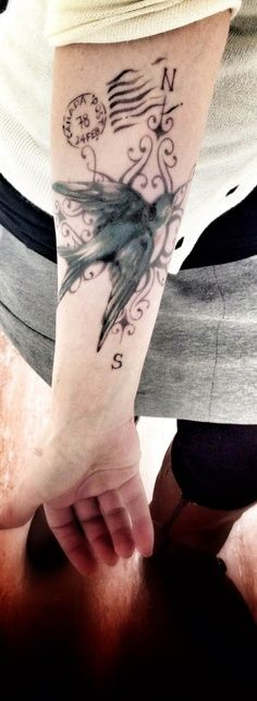 Victorian Sparrow Compass Traveler Tattoo Design Idea - Tattoo Design Ideas