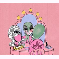 Feed into your alien obsession in celebration of national extraterrestrial abduction day. Although we're a few days late, here at Valfre it's always an extraterrestrial day. Scroll on to see to our alien inspired mood board. Arte Alien, Alien Art, Alien Aesthetic, Aesthetic Art, Art And Illustration, Landscape Illustration, Art Pop, Psychedelic Art, Dope Kunst