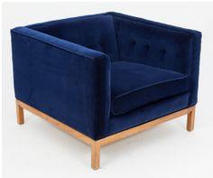 Vintage navy velvet chair (new upholstery) from @emily henderson's @One Kings Lane sale