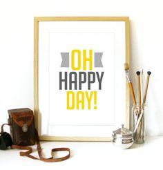 OH Happy Day ! Musique Art Poster affiche de typographie - A3 affiche art impression - joyeux bonheur joie imprimer heureux Oh Happy Day mus...