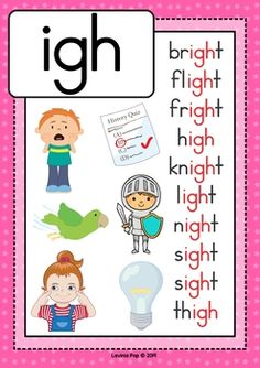 Digraph / Vowel Team IGH: Phonics Word Work {Multiple Phonograms}. Poster / anchor chart Learning Phonics, Phonics Lessons, Phonics Reading, Preschool Learning Activities, Kindergarten Reading, Teaching Kids, Kids Learning, Work Activities, Learning Spanish