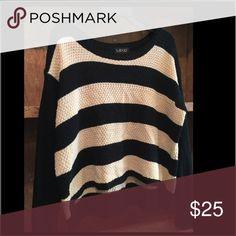 LA +JO Sweater Size large navy/beige. Sweaters