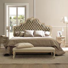 Lit baroque Amburgo avec tête de lit rembourrée capitonnée