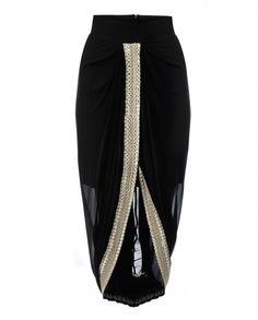 Black Draped Dhoti Skirt