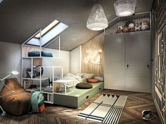 Interior Architecture, Interior Design, Attic Loft, Teenage Room, Kids Room Design, Small Spaces, Bedroom, David, House