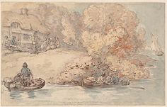 Thomas Rowlandson River Bank with Fisherman's Cottage and Boats, Fishermans Cottage, Boat Drawing, Hooked On A Feeling, Morgan Library, River Bank, Over The River, Gravure, Regency, 18th Century