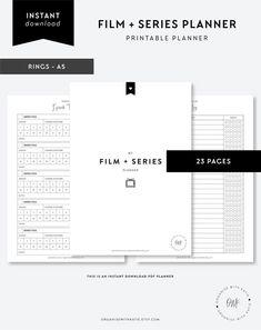 Tv Planner, Budget Planner, Planner Inserts, Travel Planner, Printable Planner Pages, Printables, Movie Tracker, Black And White Printer, Tracker Free