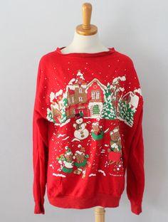 Vtg 80s Ugly Christmas Sweater cute Animals critter sweatshirt Men women xl CS40 #TurtleBay #Turtleneck