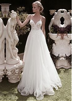 Elegant Tulle V-neck Neckline A-line Wedding Dresses With Beaded Lace Appliques
