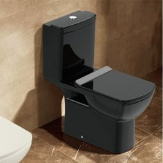 Rafahl Black Glossy Square Close Coupled Toilet with Soft Close Seat 70x36 - FloBaLi  #design #homedesign #toilethung #toilet #toiletsign #bathroomdesign #bathroomideas #bathrooms #modernbaths #bathdesign #homedesign #bathroomdecor Close Coupled Toilets, Modern Baths, Bath Design, Chrome Plating, House Design, Bathrooms, Black, Restroom Design, Bathroom