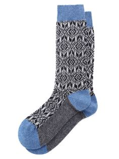 $35 - Pantherella - Tonal Fairisle Print Cashmere Socks in Mid-Blue+Navy