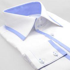 Chemise originale blanche modèle USA opposition bleue Cotton Park - Kadice