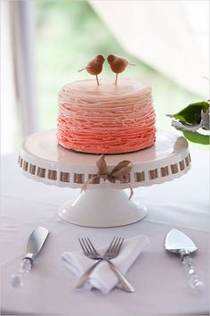 Ombre pink wedding cake