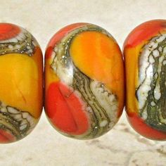 Spawn of Flame Apricot Orange Handmade Glass Lampwork Beads Set of 6 with Red Lipstick and Ivory Web Accents Small Warm Fire Polymer Beads, Polymer Clay Jewelry, Lampwork Beads, Sea Glass Mosaic, Stained Glass Birds, Wire Crafts, Jewelry Crafts, Beads Pictures, Fire Glass