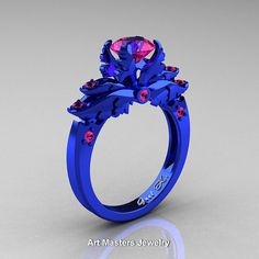 Classic Angel 14K Blue Gold 1.0 Ct Pink Sapphire Solitaire