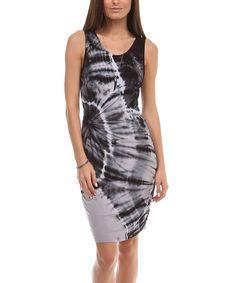 Another great find on #zulily! Black & White Tie-Dye Tank Dress by Urban X #zulilyfinds
