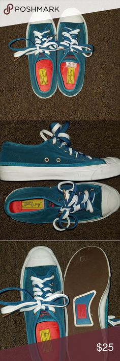 Jack Purcell Converse Worn but still a lot of life left. Turquoise and white. Velvet material. Converse Shoes Sneakers