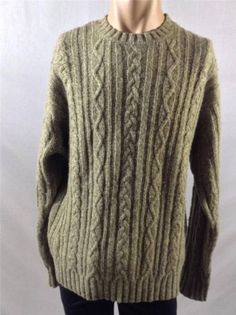 AMERICAN EAGLE  Trendy Fisherman Style Sweater Jumper 100% Wool Cable Knit SZ L