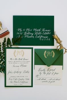Enchanted forest wedding theme with green, gold, and white invitation, custom monogram stamp, calligraphy invitation, wedding favors, thank you tag, fern wedding