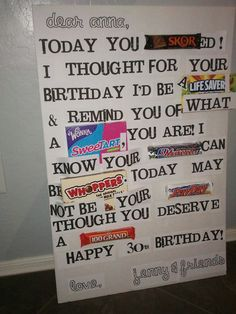Jenny's Creative Fix Birthday Candy Posters, Candy Birthday Cards, Diy Birthday Gifts For Dad, Cute Birthday Ideas, Birthday Coupons, Birthday Card Sayings, Dad Birthday, Candy Poster Board, Candy Board