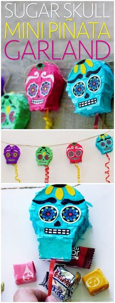 DIY Day Of The Dead Sugar Skull Piñata Garland