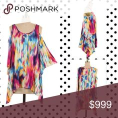 2 LEFT! Off Shoulder Colorful Print Tunic Top 1X,2X,3X. 2.2.2. 95% Rayon and 5% Spandex. Tops Tunics