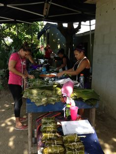 Costa Rica recipes: Tamales  Specialty for Christmas time. Ladies making tamales.